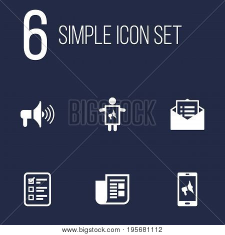 Set Of 6 Advertising Icons Set.Collection Of Message, Journal, Bullhorn And Other Elements.