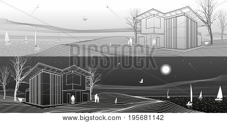 Modern house, people walking on sea shore. Boats on the horizon. Mountains on background. Architecture and nature panorama, day and night scene, white lines, vector design art