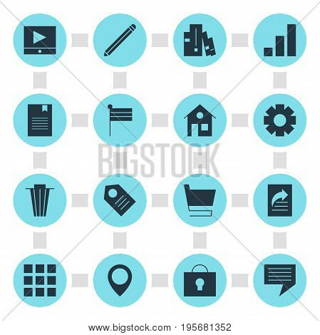 Vector Illustration Of 16 Online Icons. Editable Pack Of Bookshelf, Document Transfer, Trolley And Other Elements.
