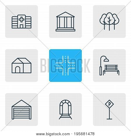 Vector Illustration Of 9 Public Icons. Editable Pack Of Intersection, Bench, Subway And Other Elements.