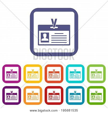 Identification card icons set vector illustration in flat style In colors red, blue, green and other