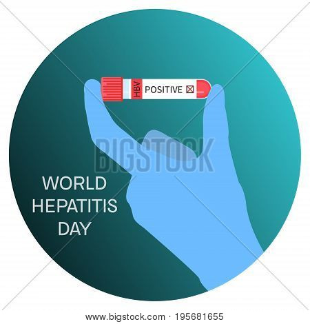 Scientist holding laboratory test tubing with blood sample for Hepatitis. Awareness poster. Medical solidarity symbol. Vector illustration.