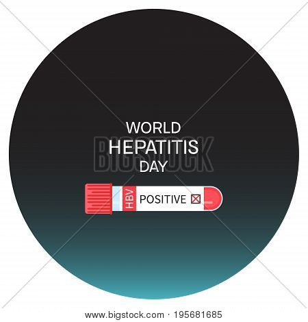Laboratory test tubing with blood sample for Hepatitis. Awareness poster. Medical solidarity symbol. Vector illustration.