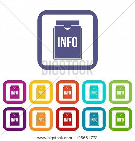 Info folder icons set vector illustration in flat style In colors red, blue, green and other