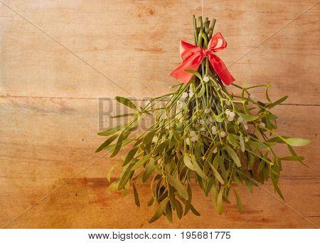 Broom From Green Mistletoe On Wood Desk.