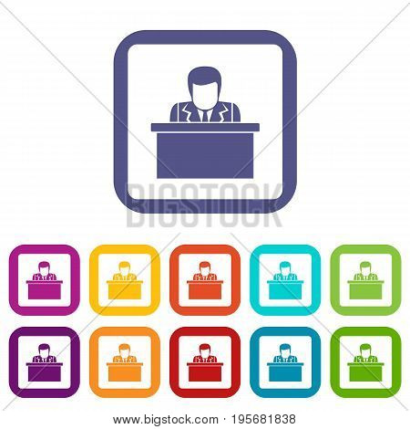 Orator speaking from tribune icons set vector illustration in flat style In colors red, blue, green and other