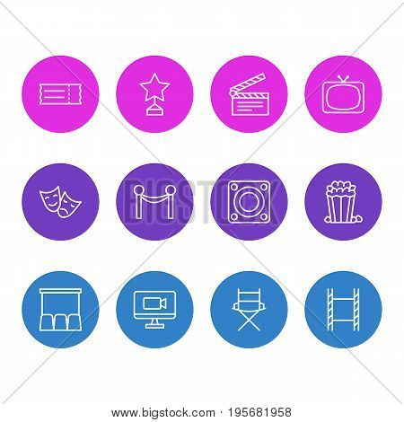Vector Illustration Of 12 Film Icons. Editable Pack Of Shooting Seat, Tv, Loudspeaker And Other Elements.