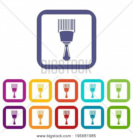 Bar code scanner icons set vector illustration in flat style In colors red, blue, green and other