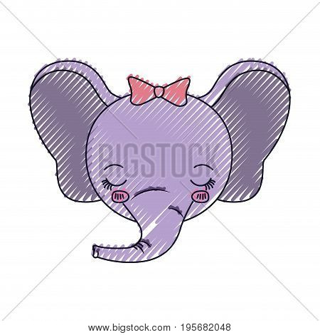 color crayon silhouette face of female elephant animal eyes closed expression vector illustration