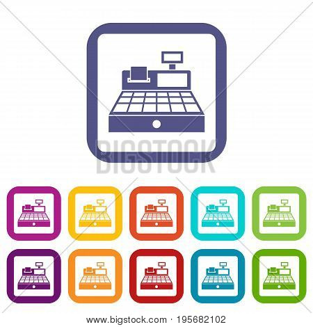 Sale cash register icons set vector illustration in flat style In colors red, blue, green and other