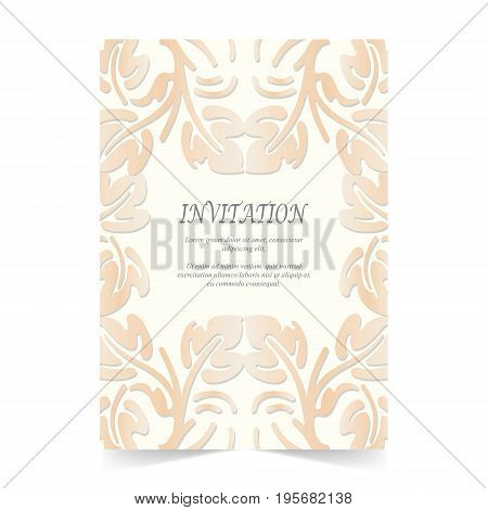 Invitation card Wedding card with ornament on ivory background