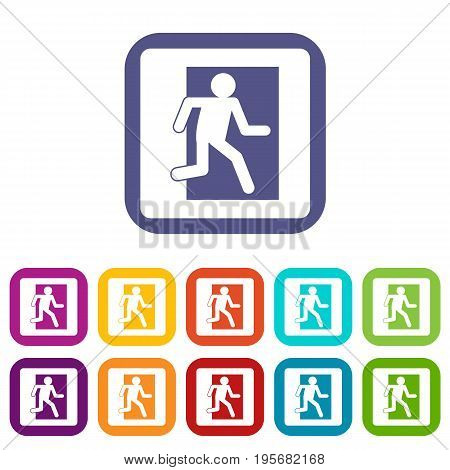 Fire exit sign icons set vector illustration in flat style In colors red, blue, green and other
