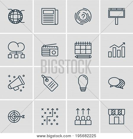 Vector Illustration Of 16 Marketing Icons. Editable Pack Of Shop, Fm Broadcasting, Advertising Billboard And Other Elements.