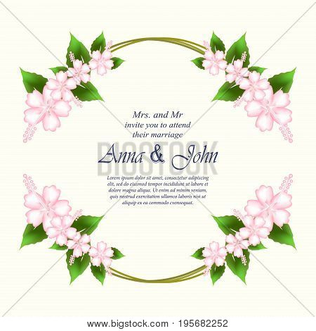Invitation card wedding card with Hibiscus flowers in spring time on ivory background
