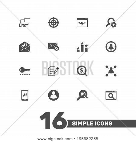 Set Of 16 Optimization Icons Set.Collection Of Statistics, Sale, Guest And Other Elements.