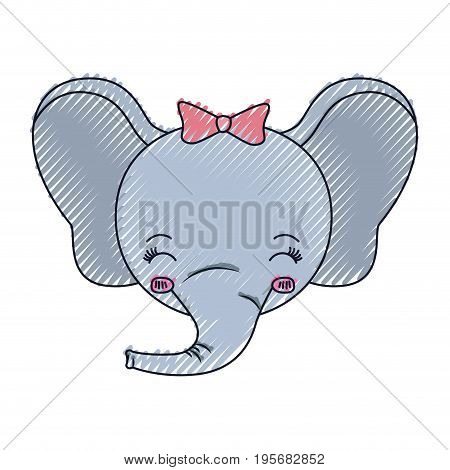color crayon silhouette face of female elephant animal eyes closed and happiness expression vector illustration