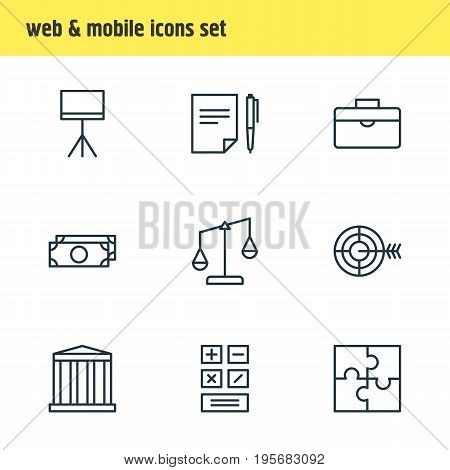 Vector Illustration Of 9 Business Icons. Editable Pack Of Goal, Calculate, Building And Other Elements.