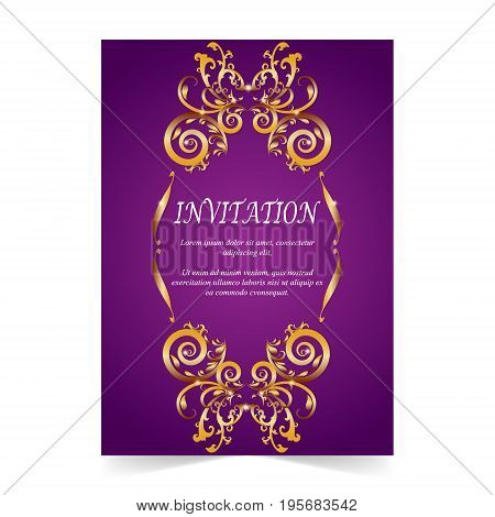 Invitation card wedding card with golden ornamental on purple background