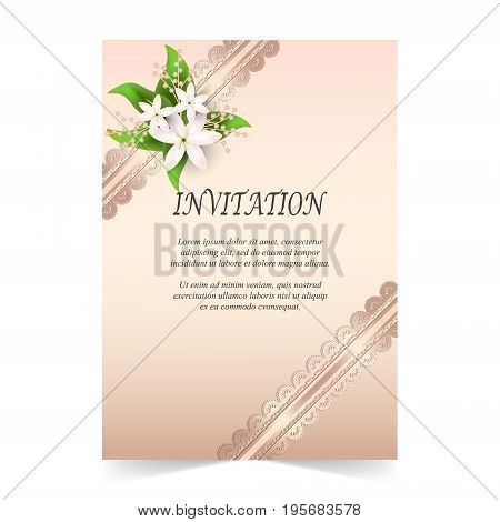Wedding card Invitation card with ornamental and flora bouquet on rose quartz color background