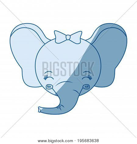 blue color shading silhouette face of female elephant animal eyes closed and happiness expression vector illustration