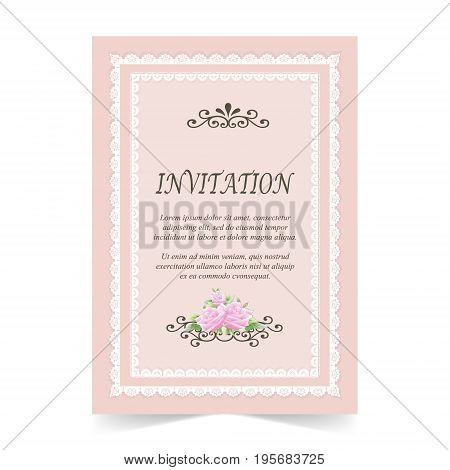 Invitation card Wedding card with rose flower and lace frame on pink background