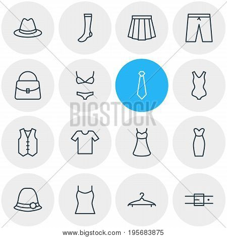 Vector Illustration Of 16 Garment Icons. Editable Pack Of Strap, Panama, Waistcoat And Other Elements.