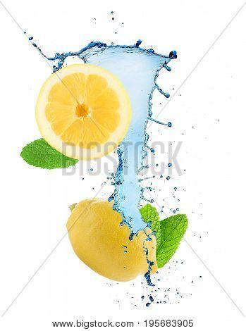 Splashing water with lemon and mint on white background