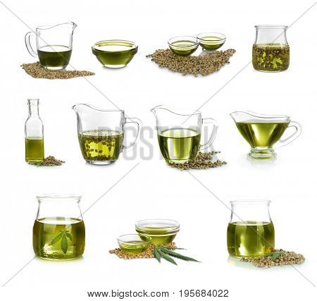 Collage of hemp seeds and oil in different glassware on white background. Superfood concept
