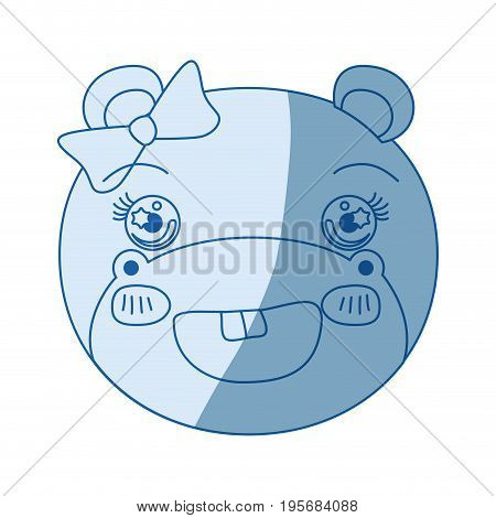 blue color shading silhouette face of female hippo animal adorable expression vector illustration