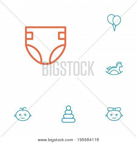 Set Of 6 Kid Outline Icons Set.Collection Of Balloon, Rocking Horse, Diaper And Other Elements.