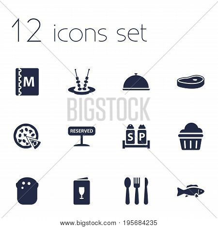 Set Of 12 Restaurant Icons Set.Collection Of Silverware, Alcohol, Registered And Other Elements.