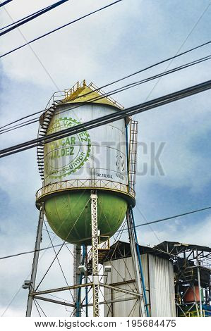 Low angle shot sugar refinery building in guayas district Ecuador