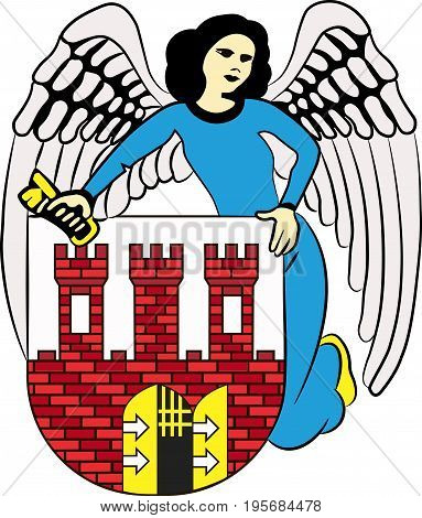 Coat of arms of Torun city in Kuyavian-Pomeranian Voivodeship in Poland. Vector illustration from the