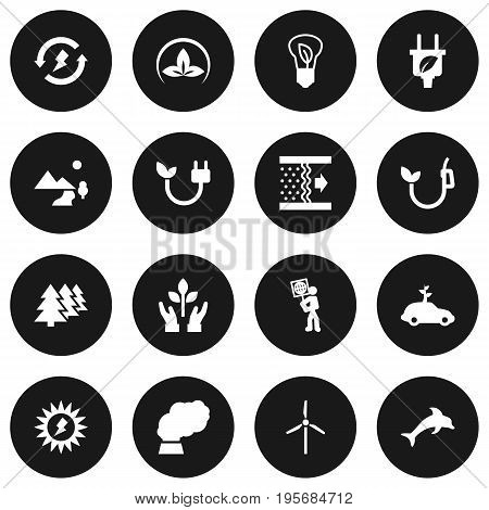 Set Of 16 Bio Icons Set.Collection Of Fan, Energy, Eco And Other Elements.