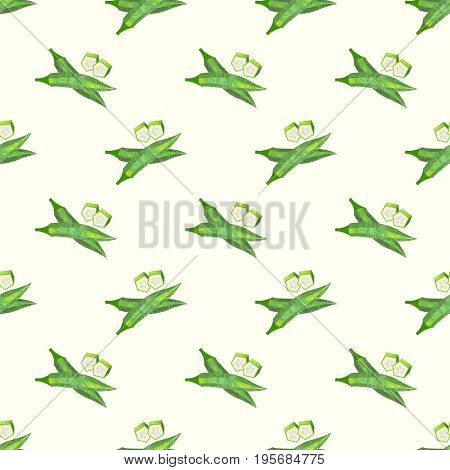 Seamless Background Image Colorful Watercolor Texture Vegetable Food Ingredient Okra Lady's Finger G