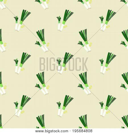 Seamless Background Image Colorful Watercolor Texture Vegetable Food Ingredient Leek