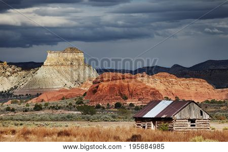Old wooden cabin in Utah desert, USA