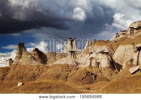 Rock formations in Bisti Badlands, New Mexico, USA