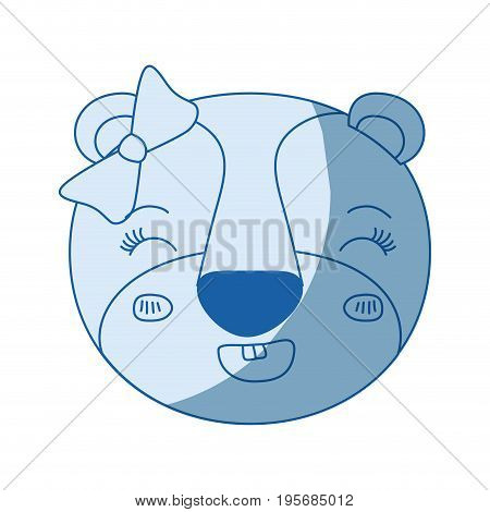 blue color shading silhouette face of female lioness animal smiling expression with bow lace vector illustration