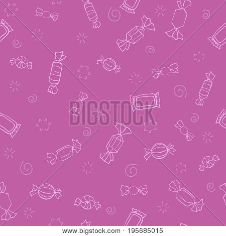 Seamless pattern of candy. Vector sweets background. Candy day. A light outline on a cartoon pink background. Seamless pattern with outline icons on a theme candy and sweets.