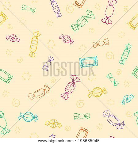 Seamless pattern of candy. Vector sweets background. Candy day. A light colorful outline on a cartoon background. Seamless pattern with outline icons on a theme candy and sweets.