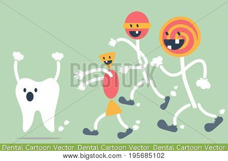 dental cartoon vector - decayed tooth - teeth problem from sweets