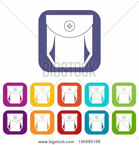 Jeans pocket with button icons set vector illustration in flat style In colors red, blue, green and other