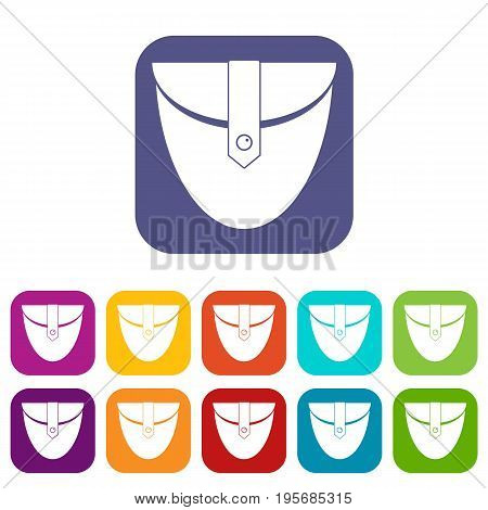 Small pocket patch icons set vector illustration in flat style In colors red, blue, green and other