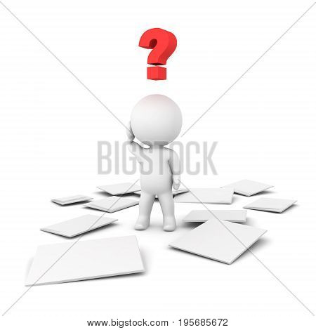 3D Character is confused because there is a mess of papers on the floor. Isolated on white.