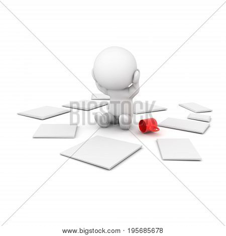 3D Character is stressed out because he can't organize his papers. Isolated on white.