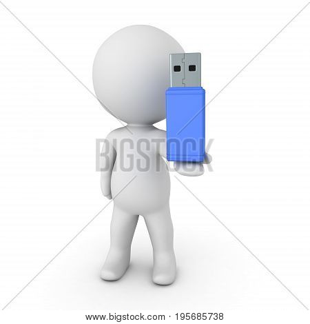 3D Character Holding A Large Blue Usb Stick In His Hand