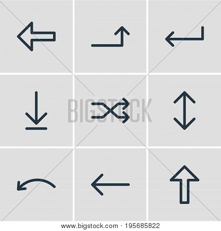 Vector Illustration Of 9 Arrows Icons. Editable Pack Of Undo, Loading, Direction And Other Elements.