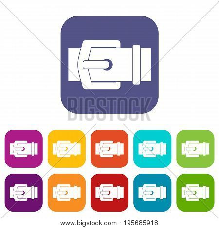 Elegant belt icons set vector illustration in flat style In colors red, blue, green and other