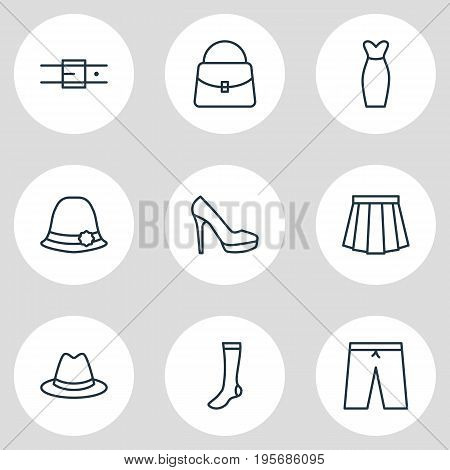 Vector Illustration Of 9 Clothes Icons. Editable Pack Of Hosiery, Sandal, Fedora Elements.